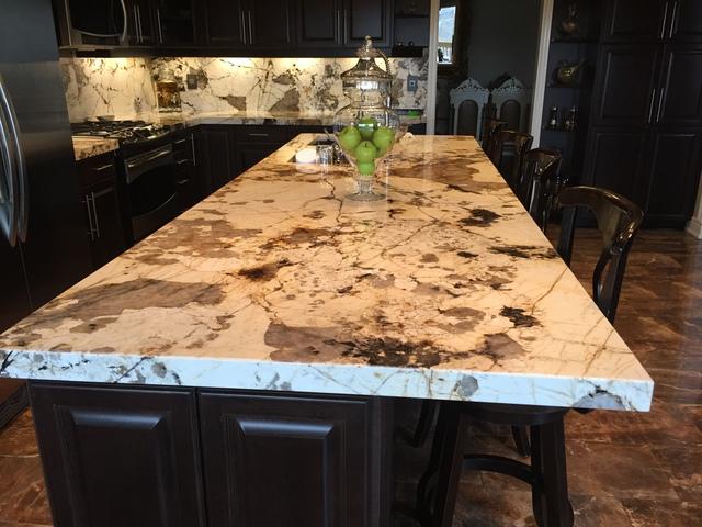 Stone Backsplash With Granite Countertop