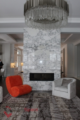 Living room Fireplace - Arabascato Marble